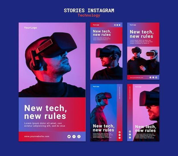 Neues technologie-instagram-story-template-design