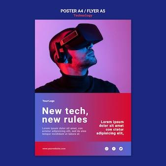 Neues technologieplakat und flyer-schablonendesign