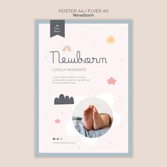 Neugeborenes babyplakat und fliegerschablonendesign