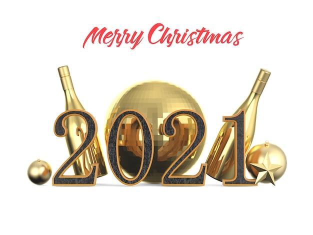 Neujahr 2021 goldene stahlnummer isoliert