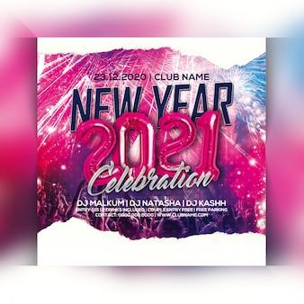 Neujahr 2021 party flyer
