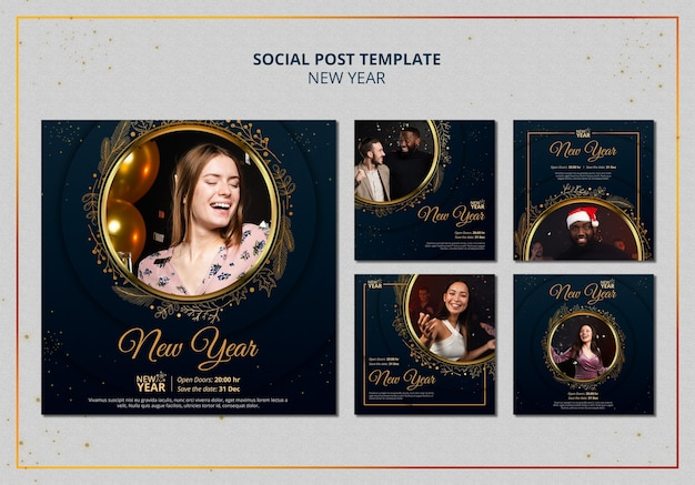 Neujahrs-posts mit goldenen details