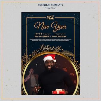 Neujahrsdruckvorlage mit goldenen details