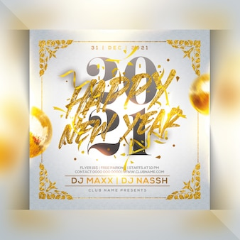Neujahrsfeier party flyer Premium PSD