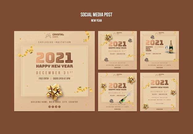 Neujahrskonzept social media post vorlage