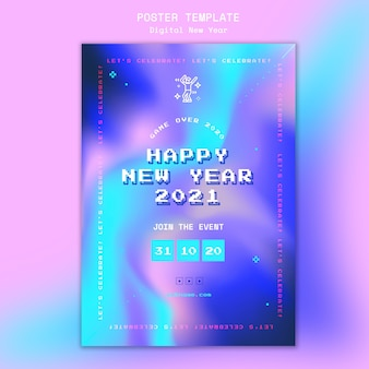 Neujahrskonzeptplakatschablone