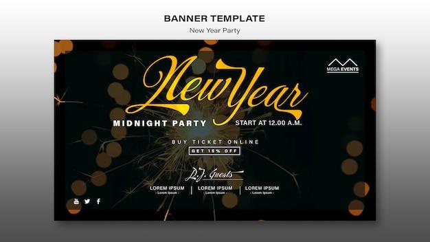 Neujahrsparty banner vorlage