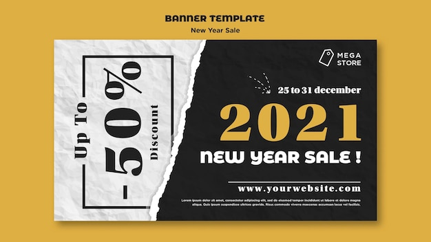 Neujahrsverkauf banner vorlage