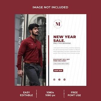 Neujahrsverkauf social media post vorlage