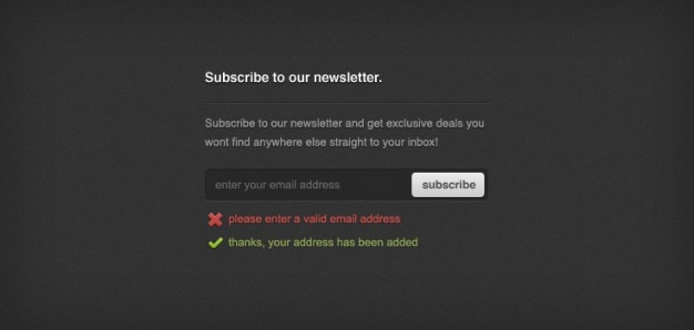 Newsletter sign-up-formular (psd)