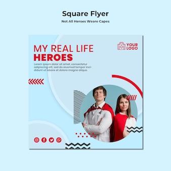 Nicht alle helden tragen einen quadratischen flyer mit umhängen