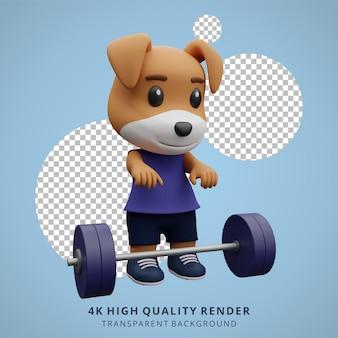 Niedliche hunde-fitnessstudio-tier-3d-charakter-maskottchen-illustration
