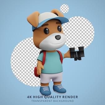 Niedliche hundecamping-maskottchen 3d-charakterillustration mit fernglas