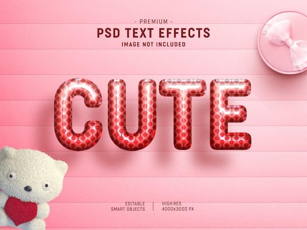 Niedliche valentine balloon text effect-vorlage