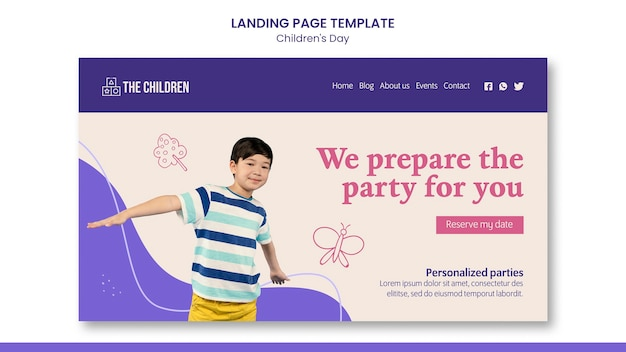 Niedliche webvorlage zum kindertag