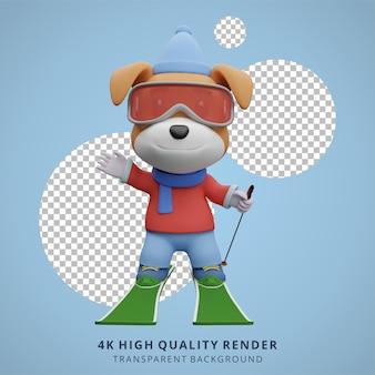 Niedlicher hund skifahren tier 3d-charakter-maskottchen-illustration