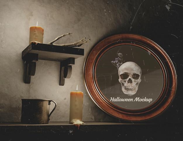Niedrige ansicht runden rahmens halloweens mit dem schädel