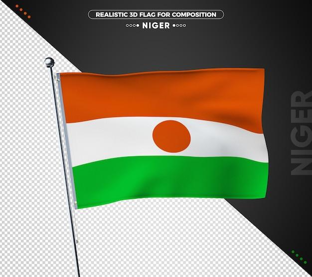 Nigerflagge mit realistischer textur