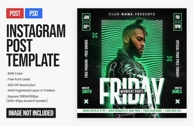 Night club dj party instagram-post und quadratische webbanner-vorlage