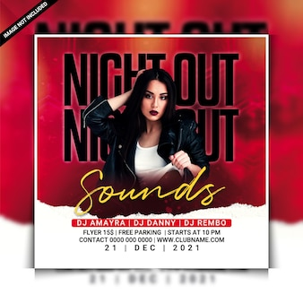 Night out sounds club party flyer vorlage