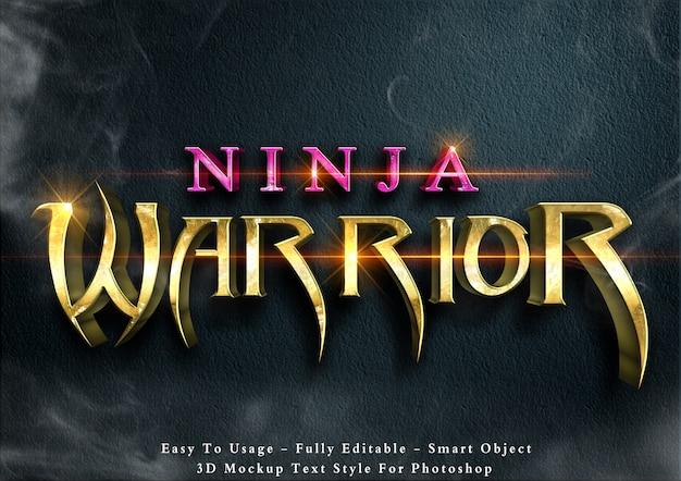 Ninja-krieger - bearbeitbarer 3d-textstil-effekt