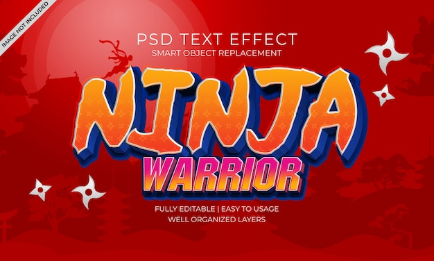 Ninja warrior text effekt