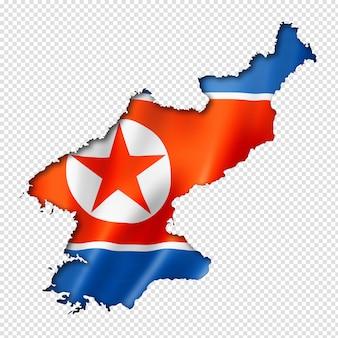 Nordkoreanische flaggenkarte