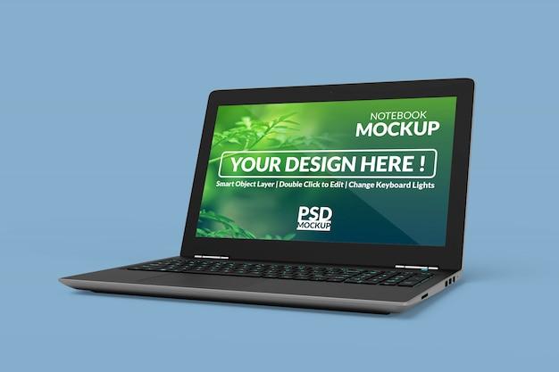 Notebook-gerät mit einem mock-up-bildschirm mit rechtwinkliger isometrischer ansicht