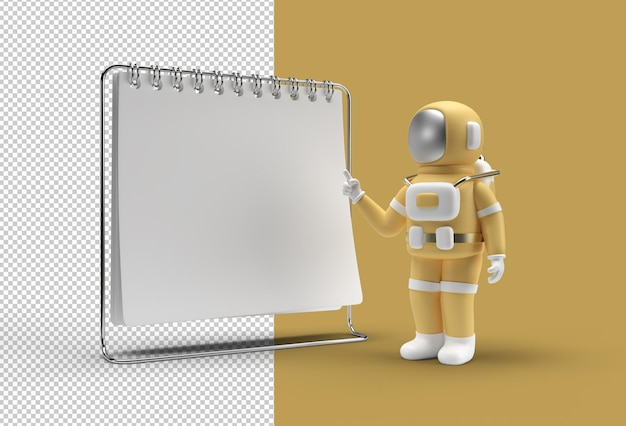Notebook-mock-up mit astronaut pointing finger transparent psd-datei.