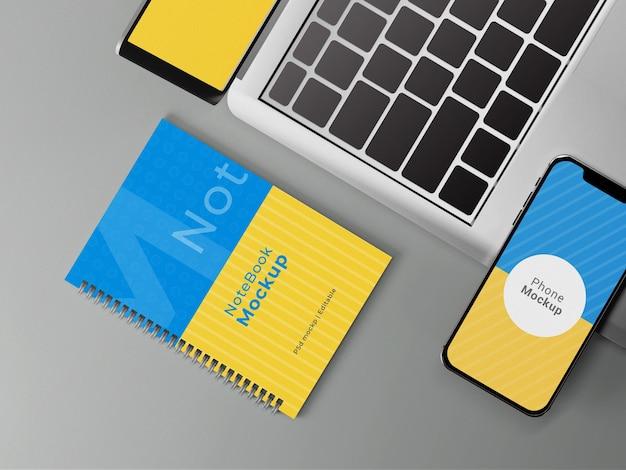 Notebook-modell in draufsicht