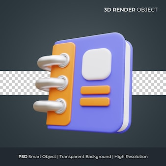 Notebook-symbol 3d-render-illustration isoliert premium-psd