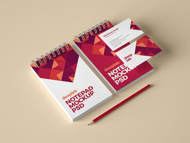 Notizblock- und visitenkarten-branding-modell