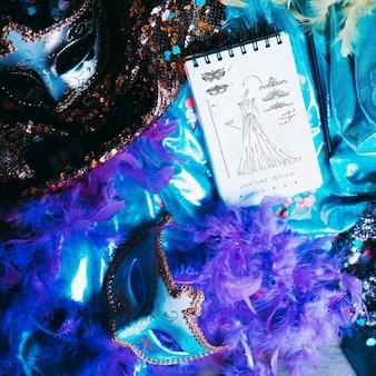 Notizblockmodell mit karnevalskonzept