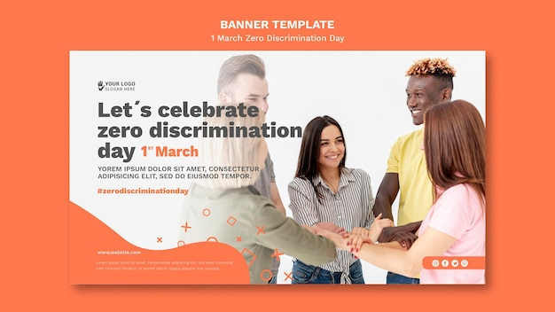 Null diskriminierung tag banner vorlage mit foto