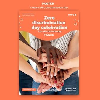 Null diskriminierung tag poster vorlage mit foto