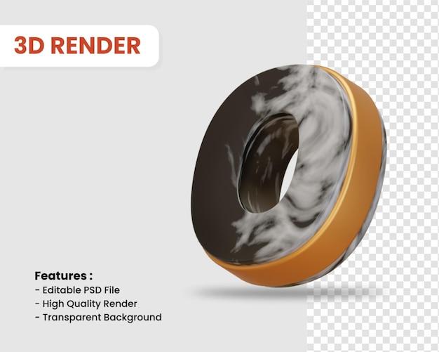 Nummer 0 3d-render isoliert mit schwarz-weißer marmorstruktur