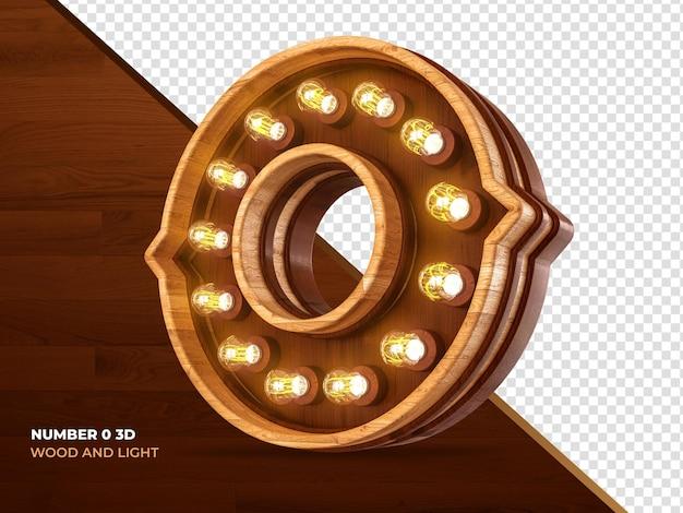 Nummer 0 3d-renderholz mit realistischen lichtern