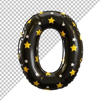 Nummer 0 null realistisches schwarzes ballon-halloween-thema