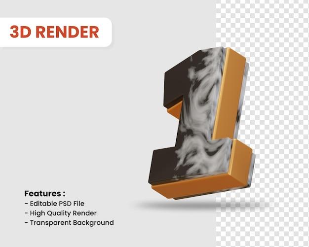Nummer 1 3d-render isoliert mit schwarz-weißer marmorstruktur