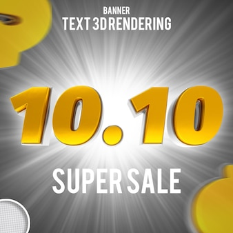 Nummer 10 10 gold 3d-rendering-banner