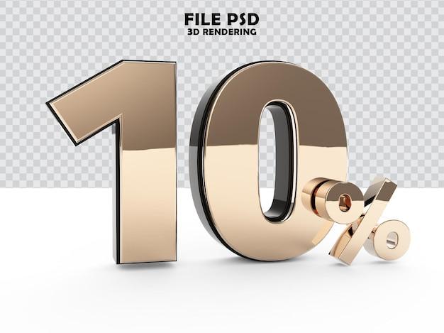 Nummer 10 3d-gold-rendering
