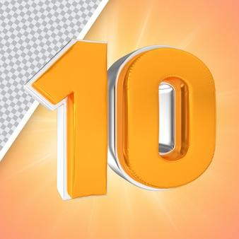 Nummer 10 gold 3d-rendering-banner