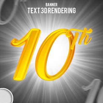 Nummer 10. gold 3d-rendering-banner