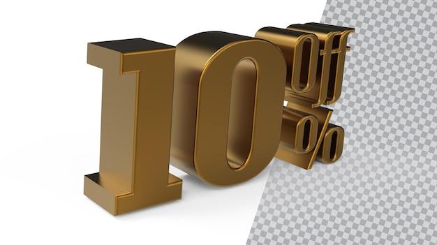 Nummer 10 gold 3d-rendering
