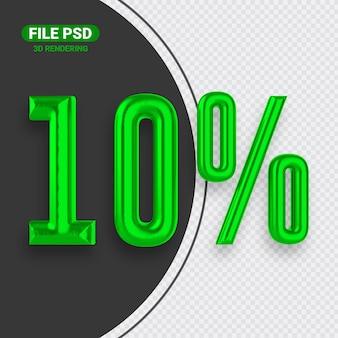 Nummer 10 grünes 3d-rendering-banner