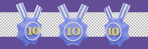 Nummer 10 medaillensymbol in verschiedenen ansichten. 3d-rendering