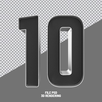 Nummer 10 schwarz 3d-rendering Premium PSD