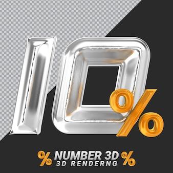 Nummer 10 silber 3d-rendering