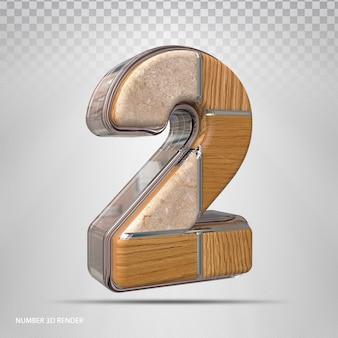 Nummer 2 konzept stil holz 3d render