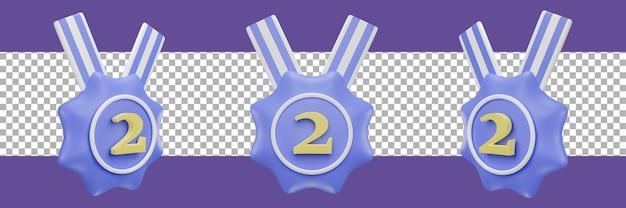 Nummer 2 medaillensymbol in verschiedenen ansichten. 3d-rendering